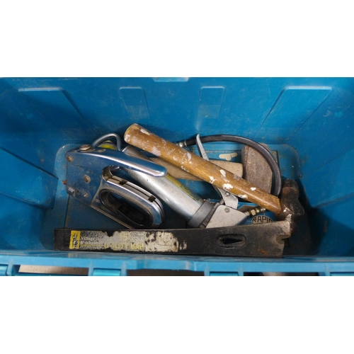 2030 - Makita 2 handled toolbox and tools:- hammers, spanners, grease gun, stapler, etc....