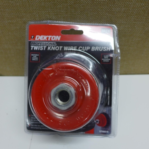 2034 - Crate of 4 Dekton Professional twist knot wire cup brushes - carded and unused * This lot is subject...
