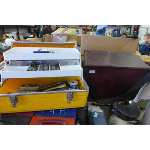 2054 - Qty. of fishing tackle - in box and case...
