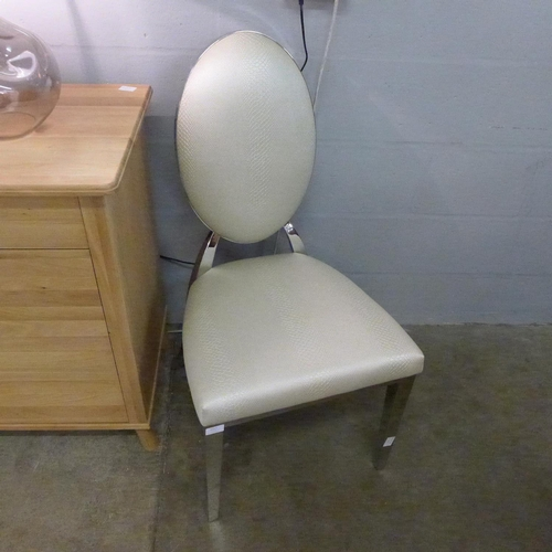 1317 - A snakeskin effect and chrome side chair * This lot is subject to VAT...