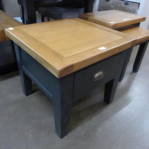1396 - A Hampshire blue painted oak lamp table (KEL P08-73) * This lot is subject to VAT Damaged marks to b...