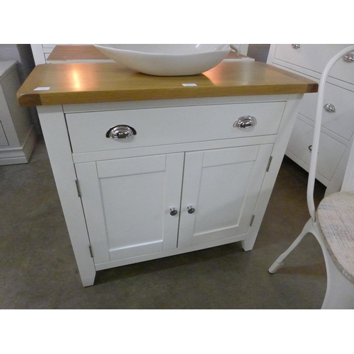 1407 - A Chester white painted oak two door small sideboard (NC-SMS-W) * This lot is subject to VAT Damaged...
