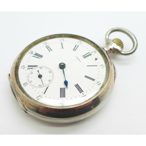 1072 - An 800 silver cased Omega pocket watch, a/f...