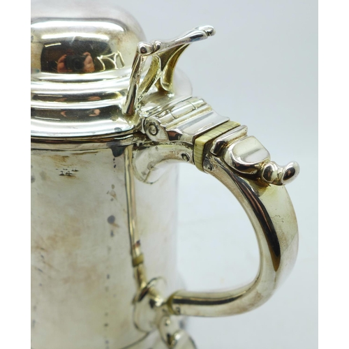 603 - A Victorian silver plated tankard, 15.5cm...