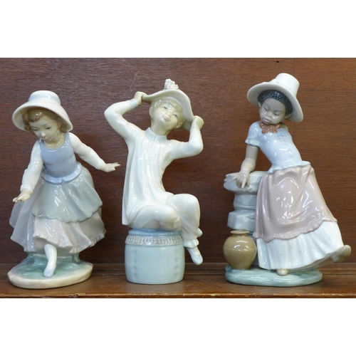 608 - Two Lladro figures, A Steppin Time, no. 5158, designer Jose Roig, issued 1982-1998, 22.5cm and a fur...