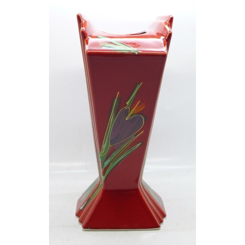 609 - An Art Deco style fan vase in the Crocus pattern by Anita Harris, signed on the base, 21cm...