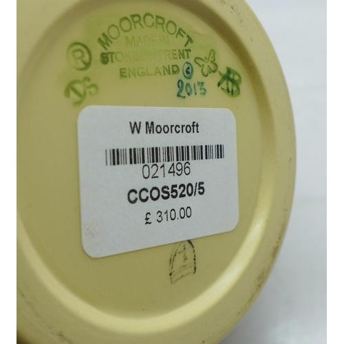 611 - A Moorcroft vase, Chocolate Cosmos design (shape no. 520/5) designed by Rachel Bishop, 10cm...