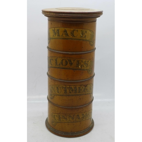 616 - A treen spice tower, 19cm...