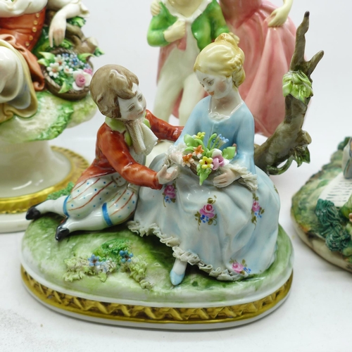 618 - A Royal Worcester figure modelled by F.G. Doughty and three Neapolitan figures, two a/f...