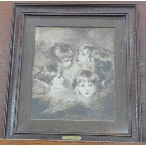 619 - An oak framed print, Heads of Angels, Sir Joshua Reynolds, P.R.A....