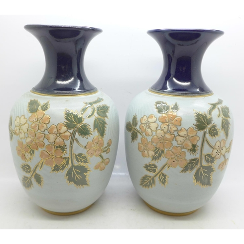 620 - A pair of Langley stoneware vases, 20cm...
