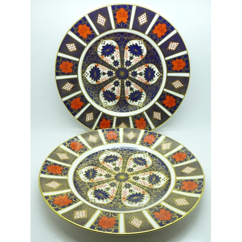 621 - Two Royal Crown Derby 1128 pattern plates, 27cm, first quality...