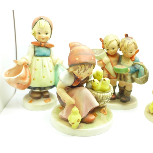 625 - Seven Hummel figures including Chick Girl and Going To Grandmas,(chick girl a/f, chip on back of hea...