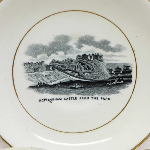 632 - Four items of crested china, a Southwell Minster drum and three Nottingham, a Nottingham view saucer...
