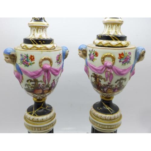 637 - A pair of continental candlesticks, a/f, 28cm...