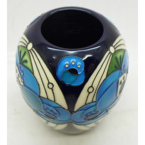 639 - A Moorcroft vase (shape no. 102/3) in the Rennie Rose Blue design by Rachel Bishop, 8cm...
