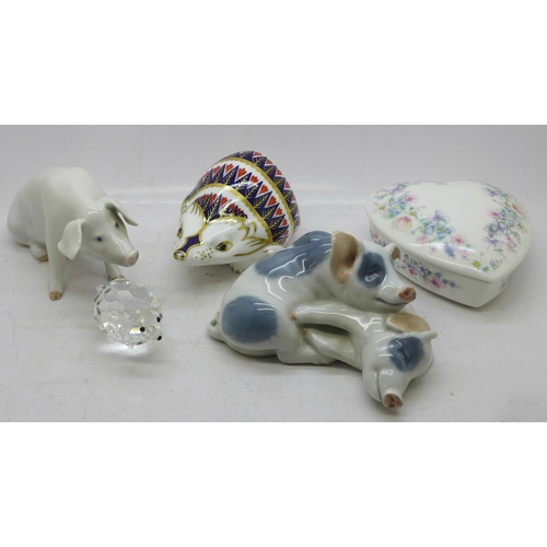 646 - Two Royal Copenhagen pig figures, a Royal Crown Derby hedgehog paperweight, a Wedgwood dish and a cr...