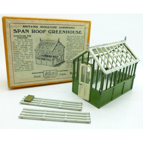 655 - A Britains Miniature Gardening Span Roof Greenhouse, boxed...