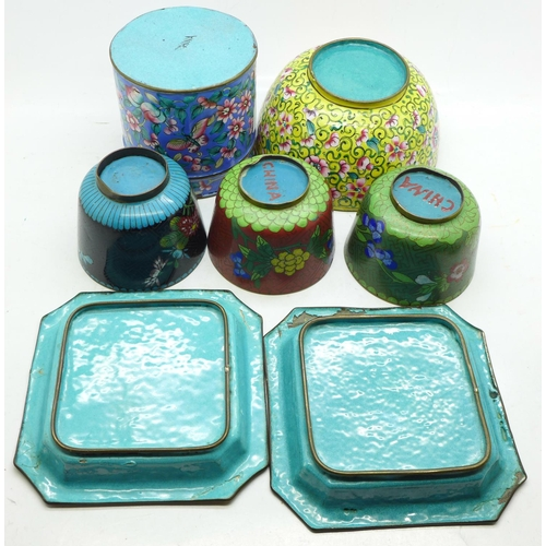 661 - A collection of cloisonne including a cane handle top, (square dishes a/f)...