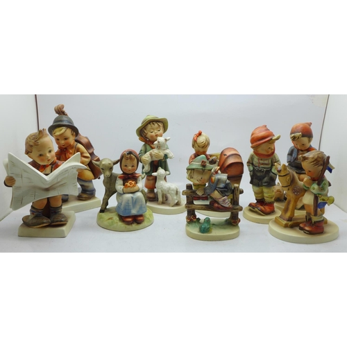 665 - Nine Hummel figures, one with small chip to base...