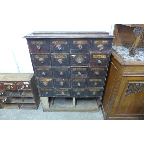52 - A Victorian stained pine apothecary cabinet...