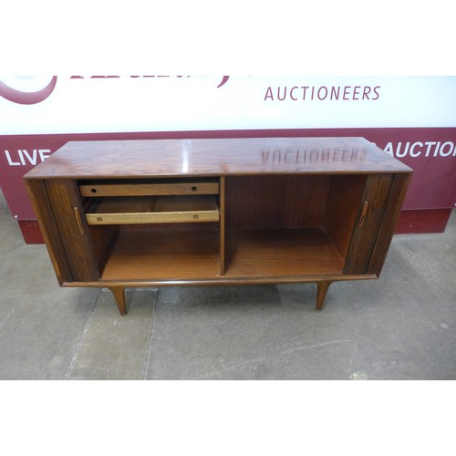 144a - A Danish Sibast rosewood tambour front sideboard, designed by Arne Vodder, 80cms h, 150cms w, 47cms ...