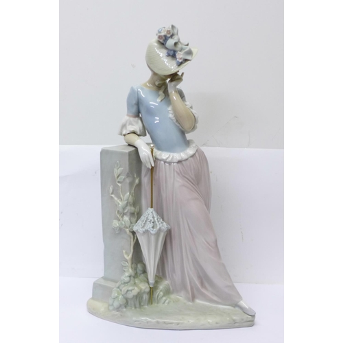 601 - A large Lladro figure of a lady with parasol, 37cm...