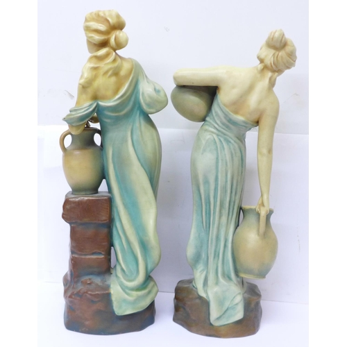 604 - Two continental figures of ladies, 7667 and 7668, both also with BB impressed mark, tallest 34cm...