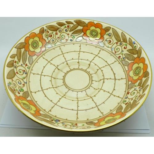 607 - A Charlotte Rhead bowl, 29cm diameter