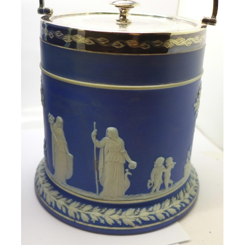 613 - A Wedgwood Jasperware jardiniere and biscuit barrel with plated top, jardiniere diameter 23.5cm...