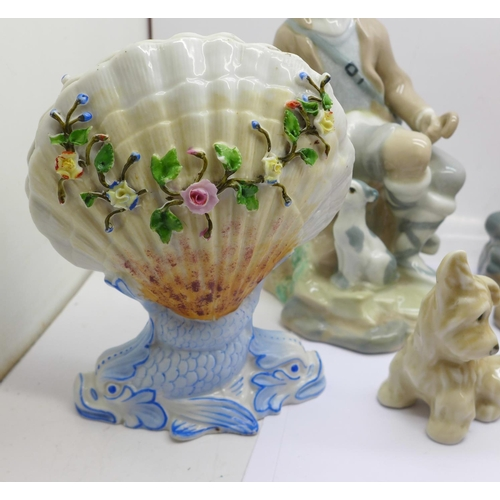 614 - A Royal Doulton figure, Elaine, two Spanish Casades figures, a Wedgwood glass model of a duck, two S...