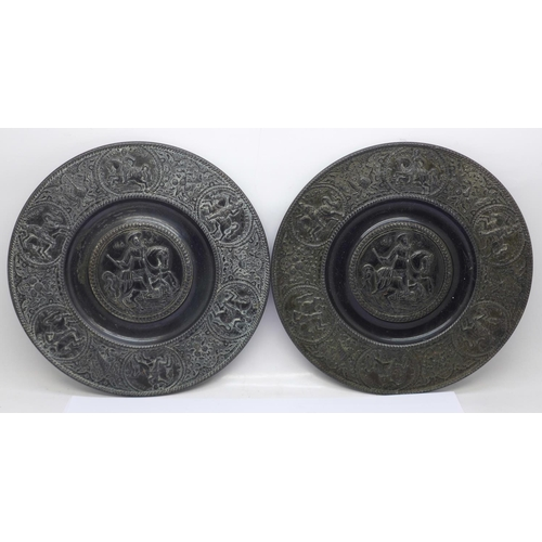 616 - A pair of Coalbrookdale style metal plaques, 19.5cm...