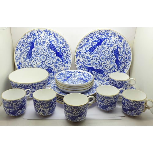 621 - A Derby porcelain six setting tea set with two cake plates and sugar bowl, plates with impressed Der...