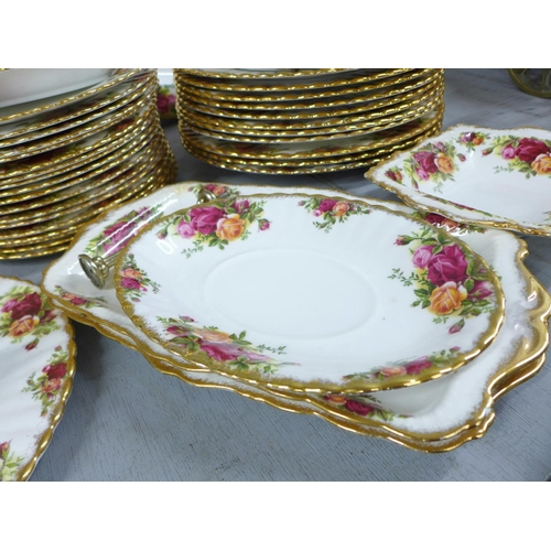 627 - Royal Albert Old Country Roses dinnerwares, eleven dinner plates, eighteen 20.5cm side plates, sixte...