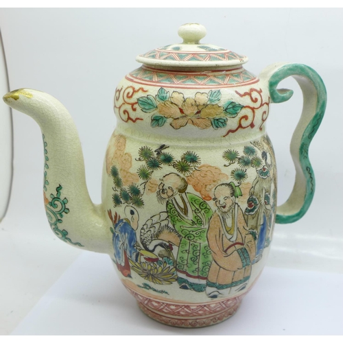 628 - Two Chinese ginger jars with contents, a Chinese teapot and a Celadon cup, (teapot crazed, cup crack...