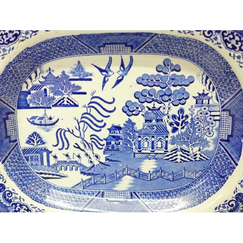 631 - A Willow pattern meat plate and two similar circular plates...