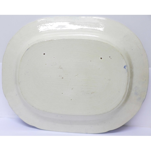 631 - A Willow pattern meat plate and two similar circular plates
