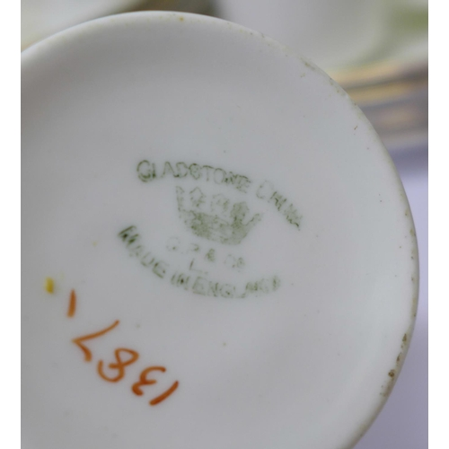 638 - Gladstone china tea ware, two cups cracked, other small chips...