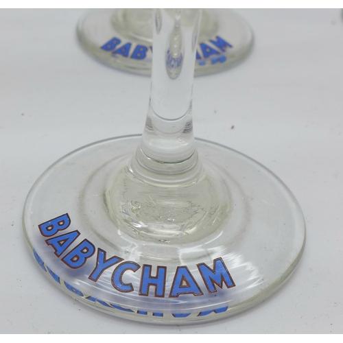 639 - A set of six Babycham glasses