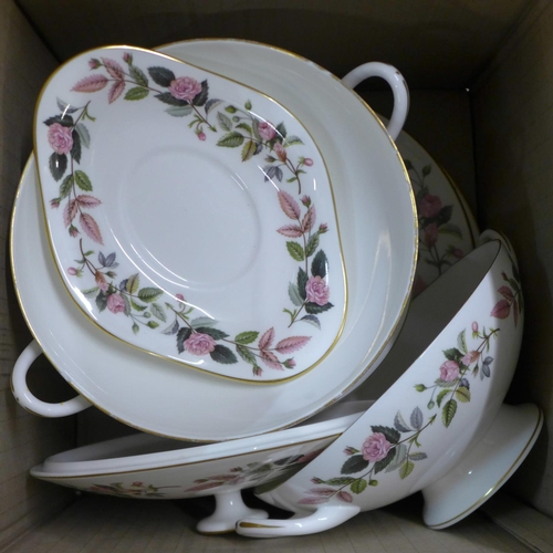 651 - Wedgwood Hathaway Rose tea and dinnerwares (2 boxes, 54 pieces)...