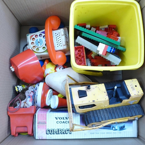 655 - A box of mixed toys including Lego 040 set (1970's), Minic Toys coach, a/f, Duplo, Fisher Price tele...