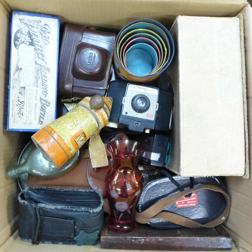 656 - A vintage Pifco hair dryer, boxed, a rosewood workbox, a Boots 'Perfect' feeding bottle, boxed, a sm...
