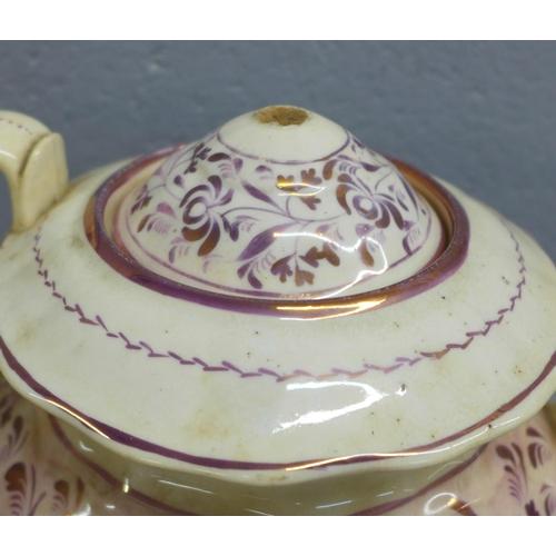 657 - A Sunderland lustre part tea set, a/f...