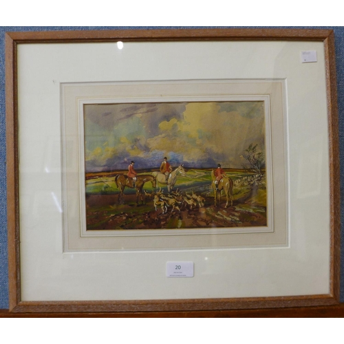 18 - Michael Crawley, A Day Out with The Meynell, watercolour, 18 x 25cms, framed...