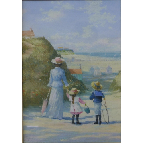 1 - James H. Tyther, summer landscape with mother and children going to the beach, pastel, 31 x 21cms, f...