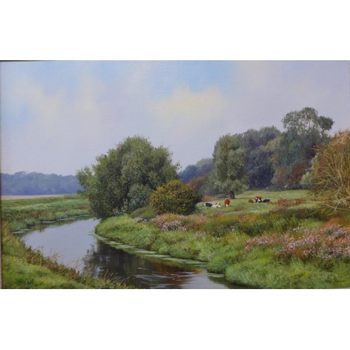 11 - Peter Barker (b.1954), rural landscape with cows resting by a stream, oil on canvas, 40 x 60cms, fra...