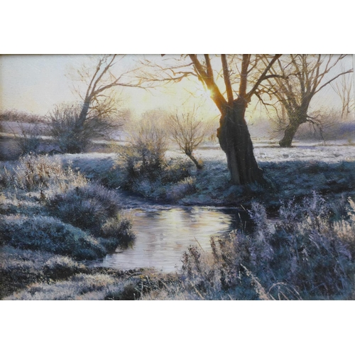 12 - Peter Barker (b.1954), Dawn Frost By The Ford, oil on board, 14cms x 20cms, framed...