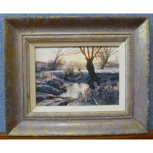 12 - Peter Barker (b.1954), Dawn Frost By The Ford, oil on board, 14cms x 20cms, framed