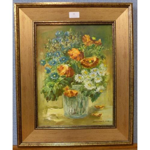 16 - Anna Lampe (Polish), still life of flowers in a vase, oil on canvas, 38cms x 29cms, framed...