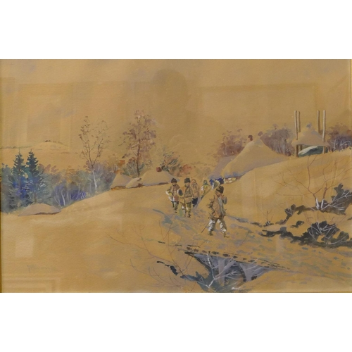 17 - Polish School, rural winter landscape with figures on path, watercolour and gouache, indistinctly si...